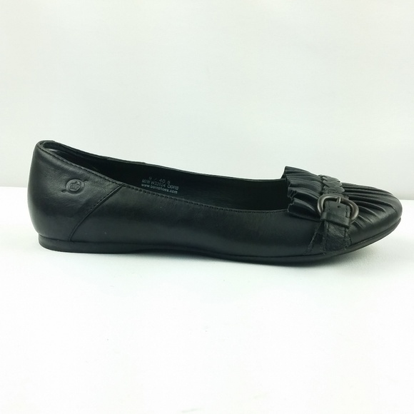 1335aa38e53 Born Shoes - Born Ballet Flat Size 9 40.5 Black Leather Ruffled